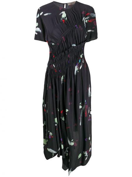 Плиссированное черное платье миди Preen Line