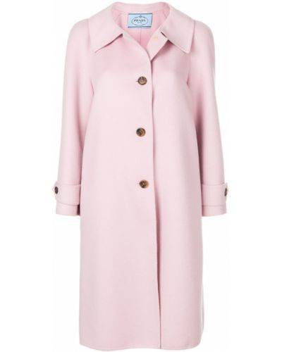 Длинное пальто классическое однобортное до колен Prada
