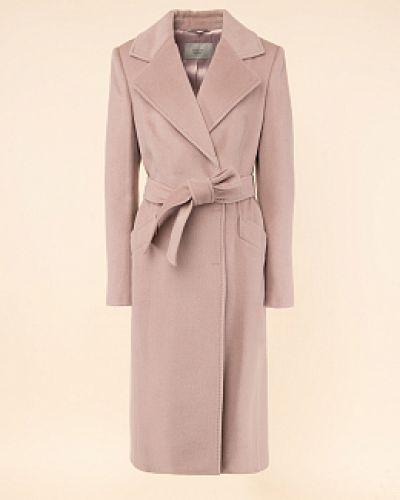 Розовое шерстяное длинное пальто с воротником Avalon
