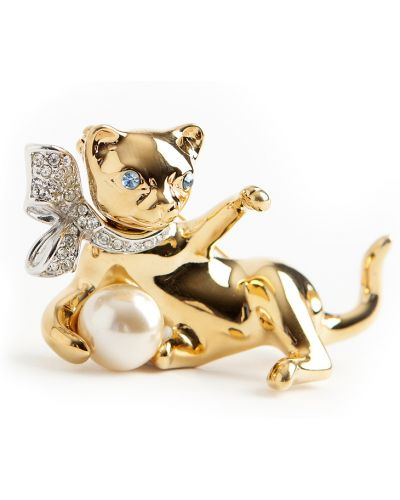 Niebieska złota broszka perły Kenneth Jay Lane Vintage
