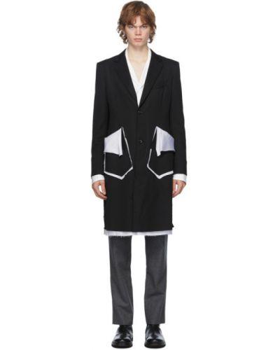 Klasyczna czarna długa kurtka wełniana Sulvam