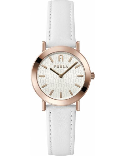 Biały zegarek kwarcowy skórzany z paskiem Furla