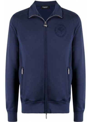 Ватная синяя длинная куртка с длинными рукавами Stefano Ricci