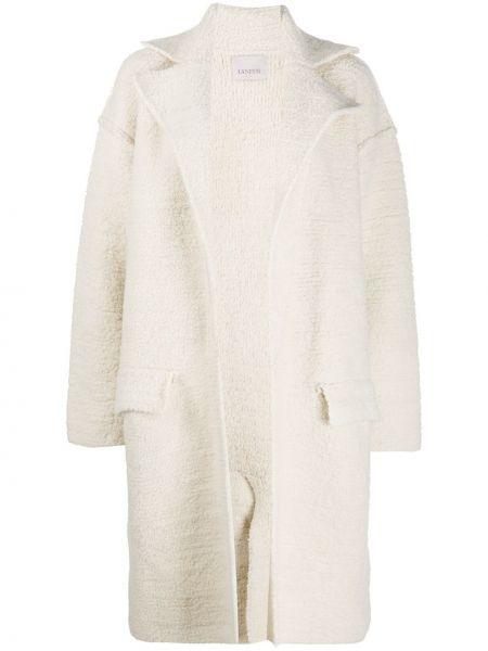 Однобортное белое шерстяное пальто классическое с воротником Laneus