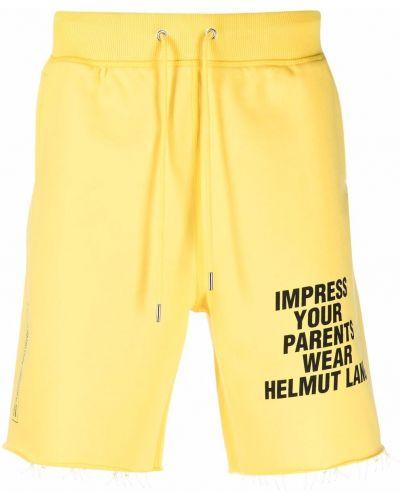 Желтые хлопковые шорты с карманами Helmut Lang