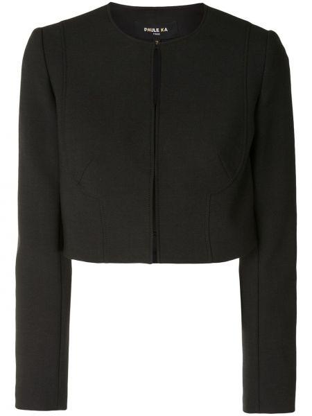 Шерстяная черная длинная куртка для полных Paule Ka