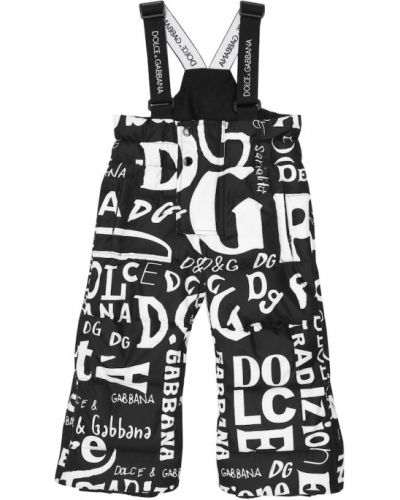 Puchaty czarny kombinezon Dolce & Gabbana Kids