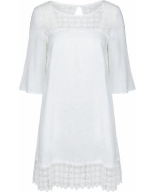 Льняное повседневное платье с вышивкой в стиле бохо с вырезом 120% Lino