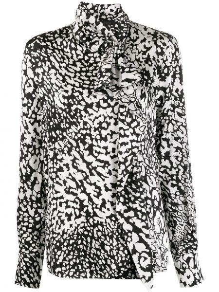 Czarna bluzka z długimi rękawami z jedwabiu Escada