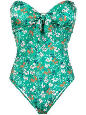 Zielony strój kąpielowy bandee bez ramiączek wzór w kwiaty L'autre Chose