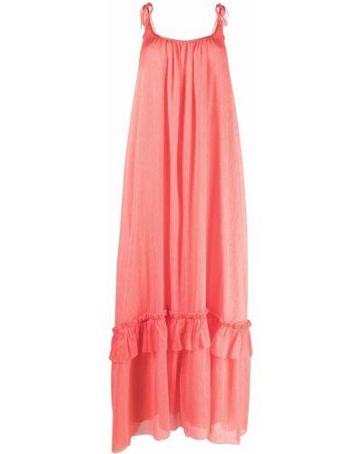 Хлопковое платье макси - розовое Gina