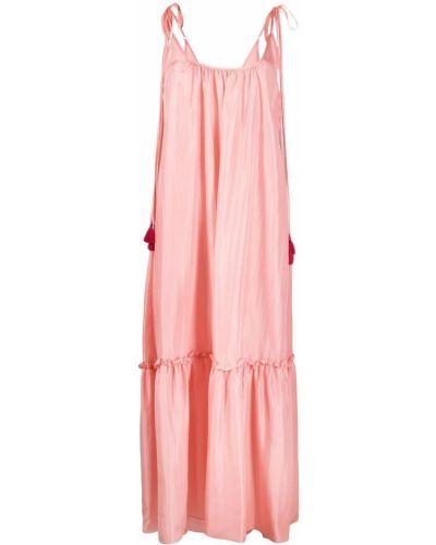 Розовое шелковое платье миди трапеция P.a.r.o.s.h.