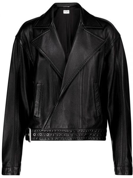 Черная кожаная куртка байкерская Saint Laurent