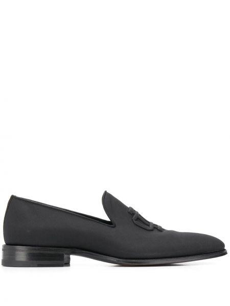 Czarny loafers z prawdziwej skóry na pięcie z haftem Dsquared2