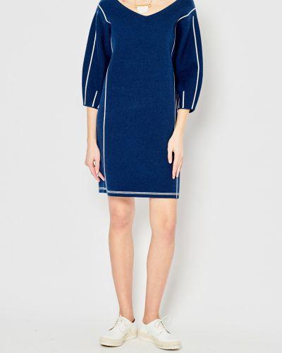 Свободное трикотажное синее платье миди Stefanel
