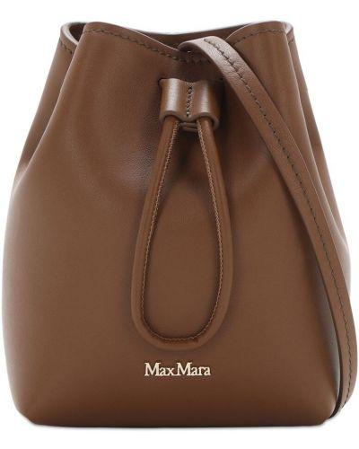 Ze sznurkiem do ściągania z paskiem brązowy skórzana torebka z prawdziwej skóry Max Mara