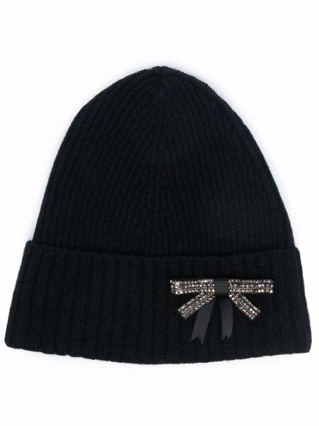 Czarna czapka wełniana Erdem
