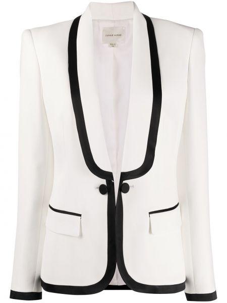 Приталенная белая куртка с вырезом с карманами Zuhair Murad