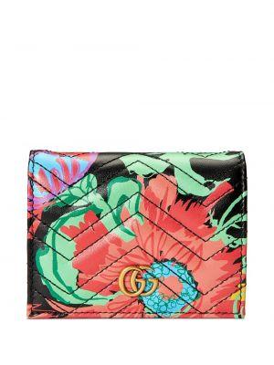 Czarny portfel skórzany pikowany Gucci