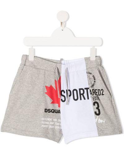 Прямые серые хлопковые спортивные шорты Dsquared2 Kids