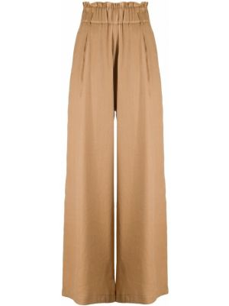 Бежевые льняные свободные брюки стрейч свободного кроя Semicouture
