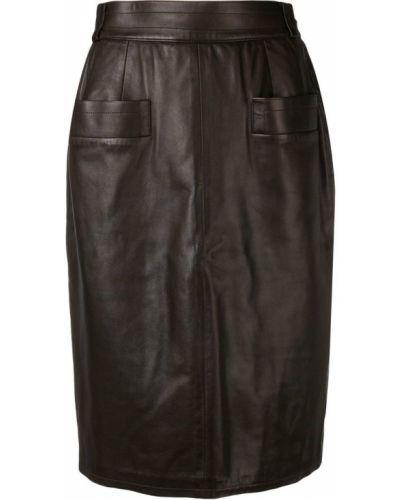 Юбка миди с завышенной талией - коричневая Yves Saint Laurent Vintage