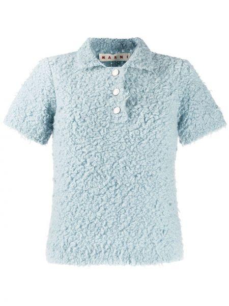 Niebieska koszula krótki rękaw wełniana Marni