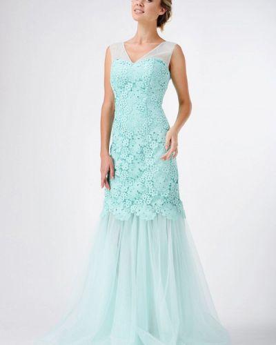 Платье осеннее бирюзовый Ricamare