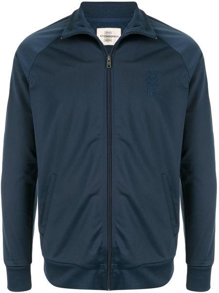 Niebieski sweter z haftem z długimi rękawami Kent & Curwen