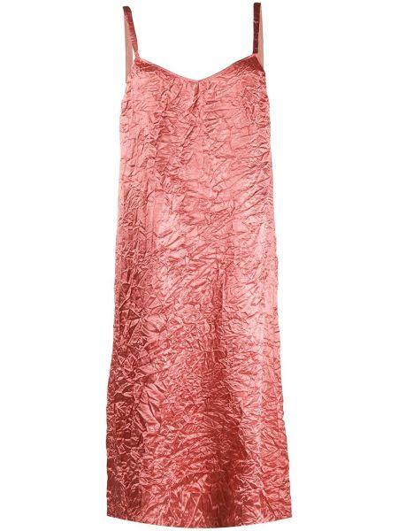 Шелковое розовое платье миди без рукавов Rochas