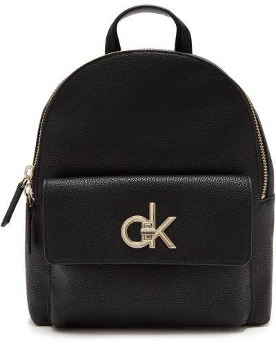 Кожаный рюкзак на молнии черный Calvin Klein