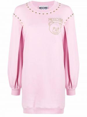 Розовое вязаное платье-свитер с вырезом Moschino