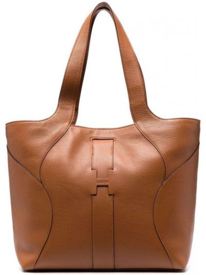 Кожаная сумка - коричневая Hogan
