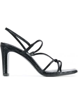 Открытые черные босоножки на каблуке Sandro Paris