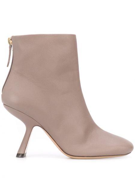 Brązowy buty na pięcie z prawdziwej skóry kwadratowy plac Nicholas Kirkwood