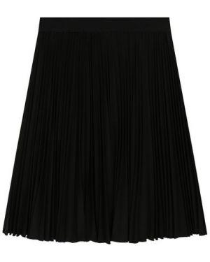 Плиссированная повседневная шерстяная черная юбка Aletta
