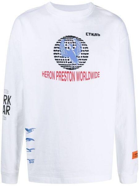 Z rękawami prosto biały koszula z haftem Heron Preston