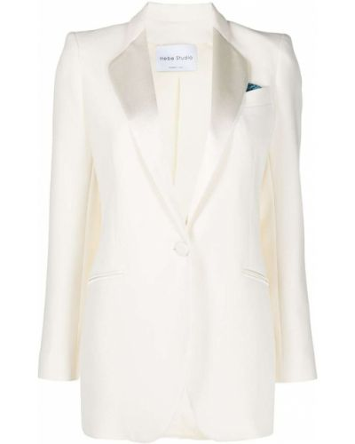 Однобортный белый пиджак с карманами Hebe Studio