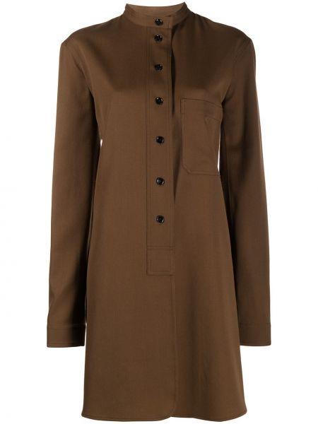 Z rękawami bawełna wełniany brązowy tunika z długimi rękawami Lemaire