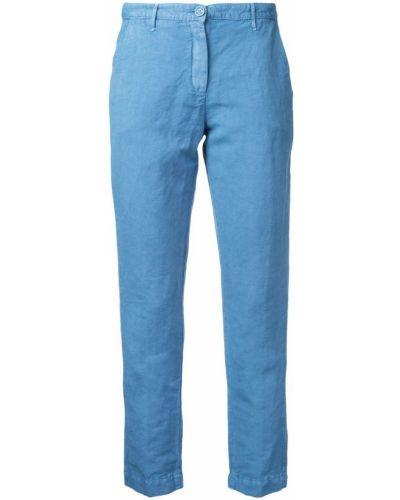 Укороченные брюки льняные хлопковые Massimo Alba