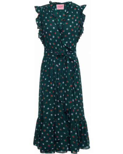 Зеленое текстильное платье миди с принтом Kate Spade New York