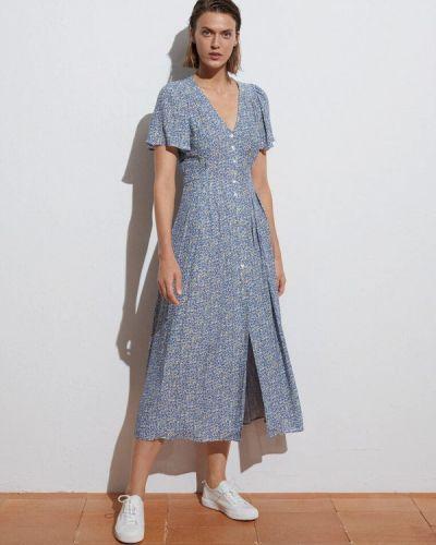 Голубое прямое платье Oysho