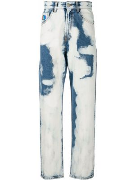 Niebieskie jeansy z wysokim stanem skorzane Gcds