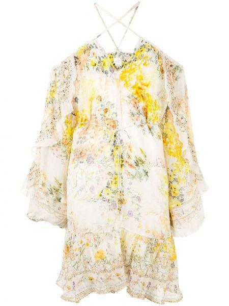 Шелковое с рукавами белое платье макси Camilla