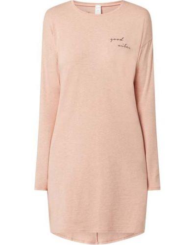 Różowa koszula nocna bawełniana z długimi rękawami Skiny