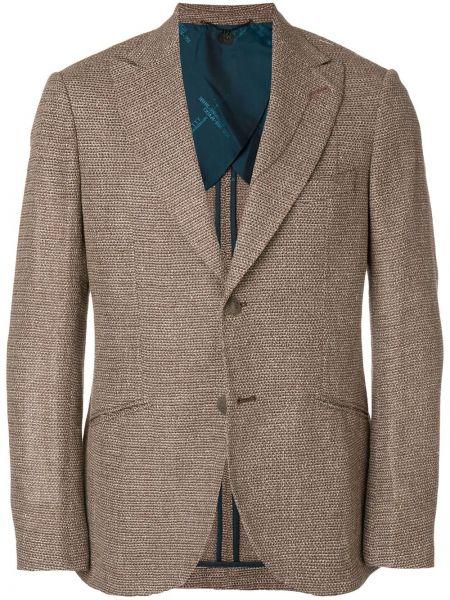 Коричневый деловой пиджак на пуговицах Maurizio Miri