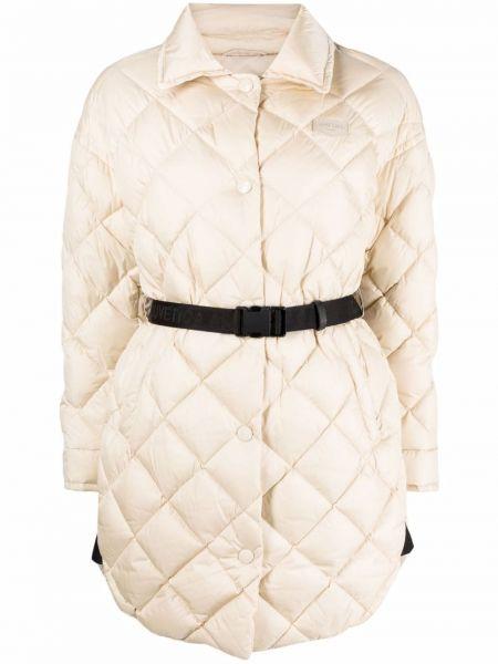 Klasyczny beżowy długi płaszcz pikowany Duvetica