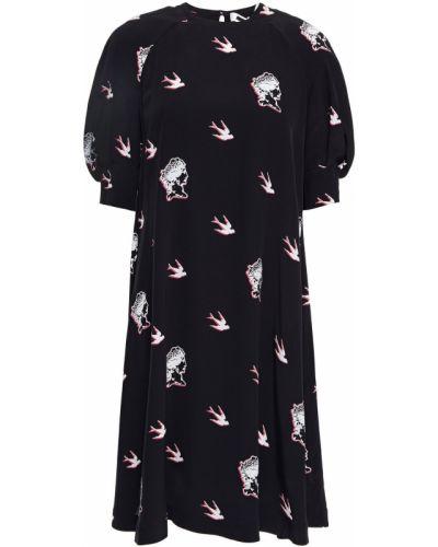 Расклешенное черное платье на пуговицах Mcq Alexander Mcqueen