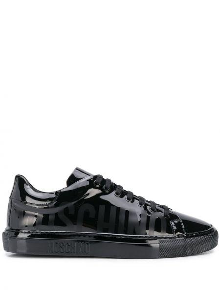 Czarny włókienniczy sneakersy z logo na sznurowadłach Moschino