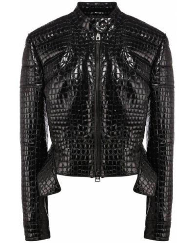 Кожаная куртка черная из кожи крокодила Tom Ford